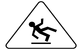 General Liability slip fall Caution sign